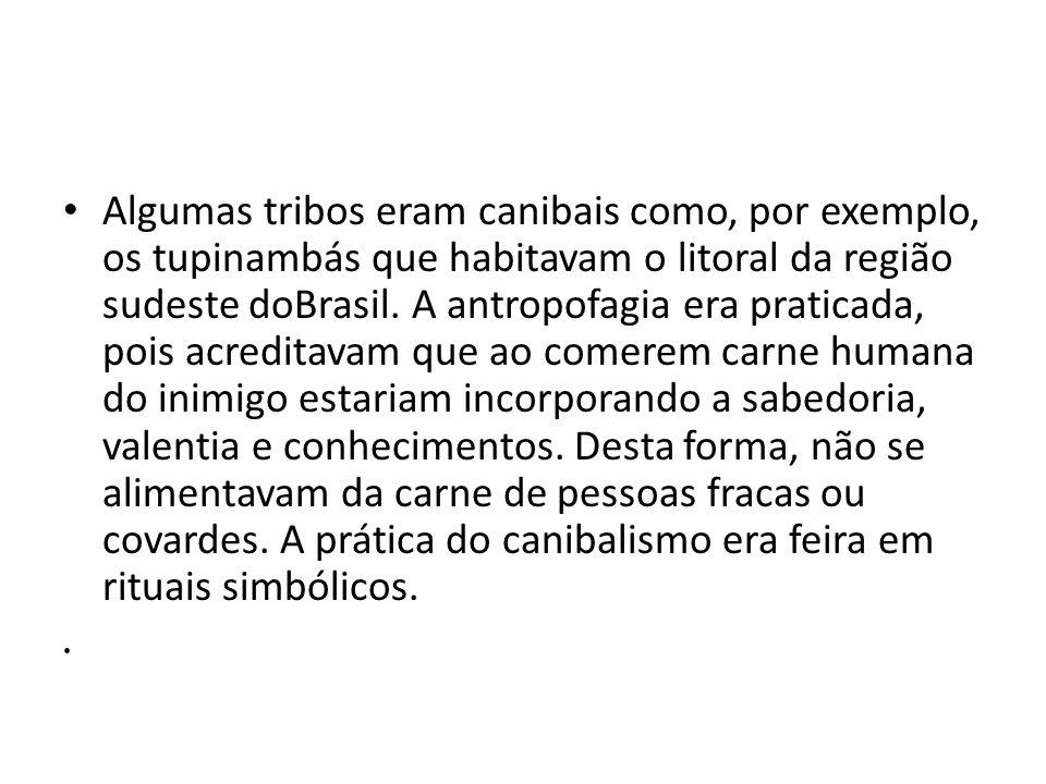 Algumas tribos eram canibais como, por exemplo, os tupinambás que habitavam o litoral da região sudeste doBrasil. A antropofagia era praticada, pois a