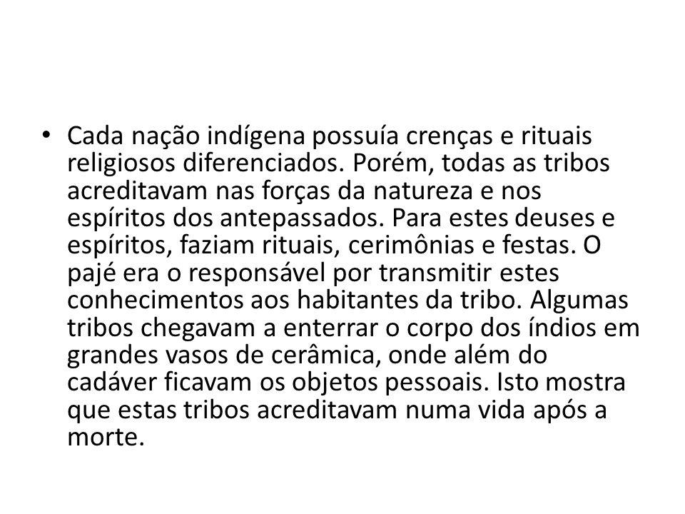 Cada nação indígena possuía crenças e rituais religiosos diferenciados. Porém, todas as tribos acreditavam nas forças da natureza e nos espíritos dos