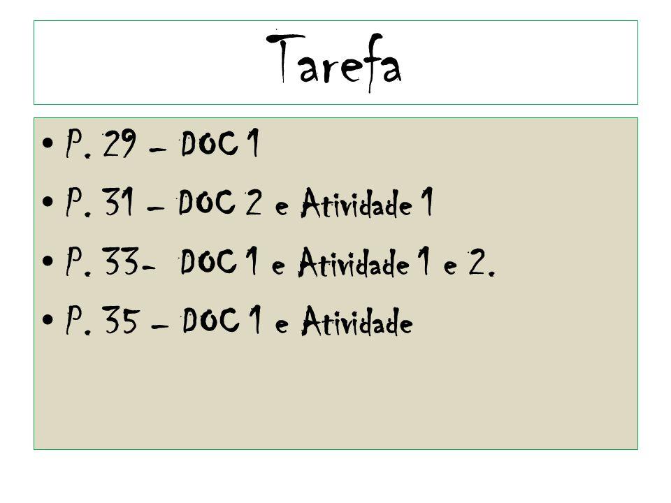 Tarefa P. 29 – DOC 1 P. 31 – DOC 2 e Atividade 1 P. 33- DOC 1 e Atividade 1 e 2. P. 35 – DOC 1 e Atividade
