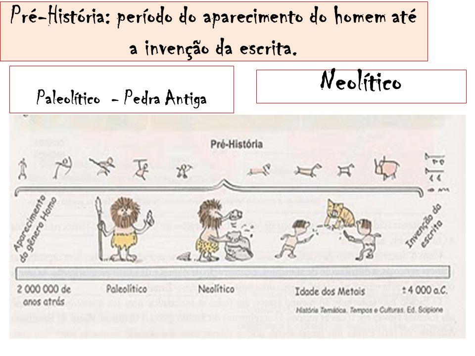 Pré-História: período do aparecimento do homem até a invenção da escrita. Paleolítico - Pedra Antiga Neolítico