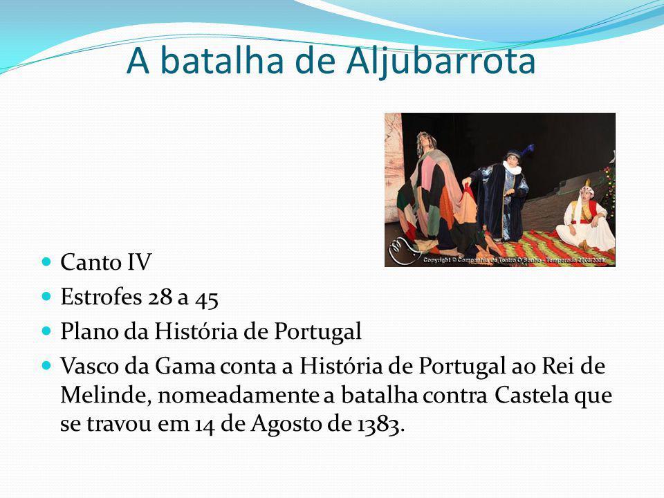 Canto IV Estrofes 28 a 45 Plano da História de Portugal Vasco da Gama conta a História de Portugal ao Rei de Melinde, nomeadamente a batalha contra Ca