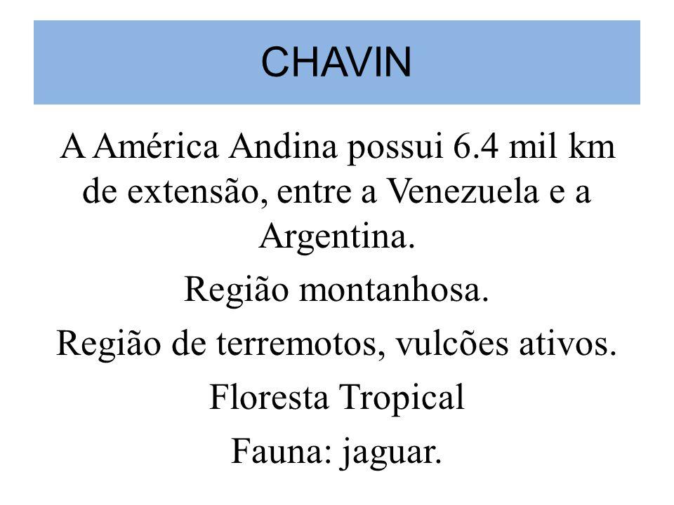 CHAVIN A América Andina possui 6.4 mil km de extensão, entre a Venezuela e a Argentina.