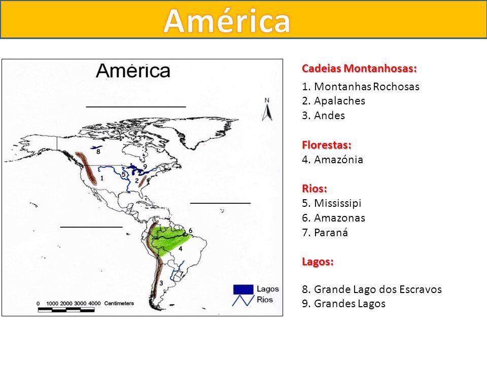 Cadeias Montanhosas: 1. Montanhas Rochosas 2. Apalaches 3. AndesFlorestas: 4. AmazóniaRios: 5. Mississipi 6. Amazonas 7. ParanáLagos: 8. Grande Lago d