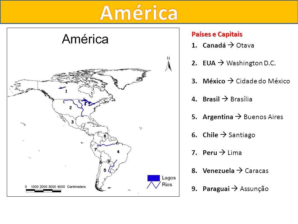 Países e Capitais 1.Canadá Otava 2.EUA Washington D.C. 3.México Cidade do México 4.Brasil Brasília 5.Argentina Buenos Aires 6.Chile Santiago 7.Peru Li