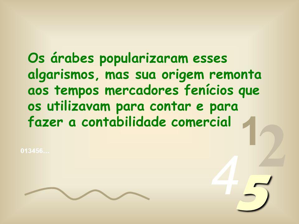 1 2 4 5 Os árabes popularizaram esses algarismos, mas sua origem remonta aos tempos mercadores fenícios que os utilizavam para contar e para fazer a contabilidade comercial