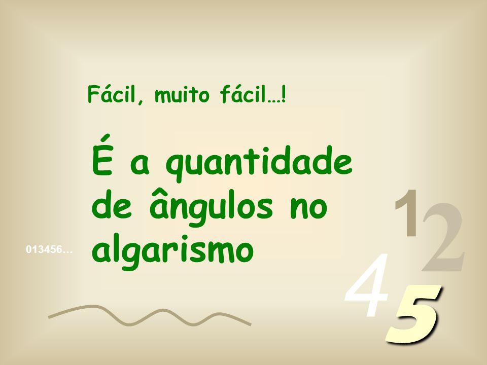 013456… 1 2 4 5 Fácil, muito fácil…! É a quantidade de ângulos no algarismo