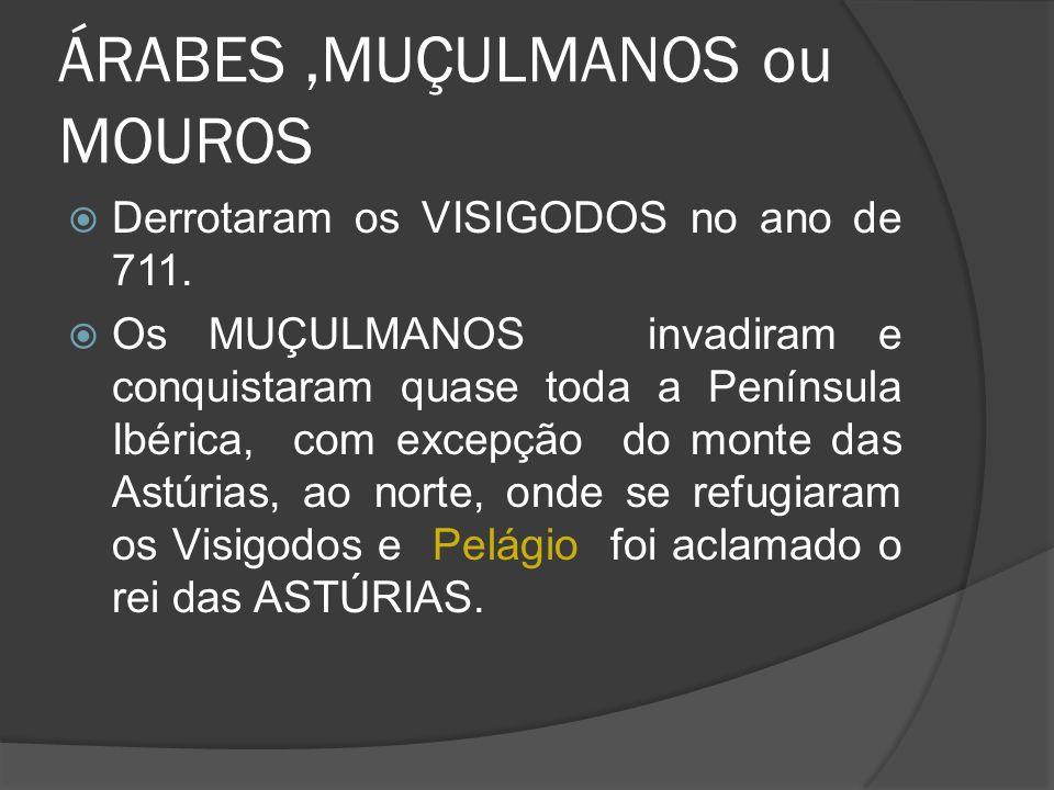 ÁRABES,MUÇULMANOS ou MOUROS Derrotaram os VISIGODOS no ano de 711. Os MUÇULMANOS invadiram e conquistaram quase toda a Península Ibérica, com excepção