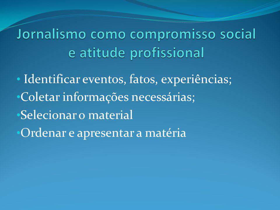 Identificar eventos, fatos, experiências; Coletar informações necessárias; Selecionar o material Ordenar e apresentar a matéria