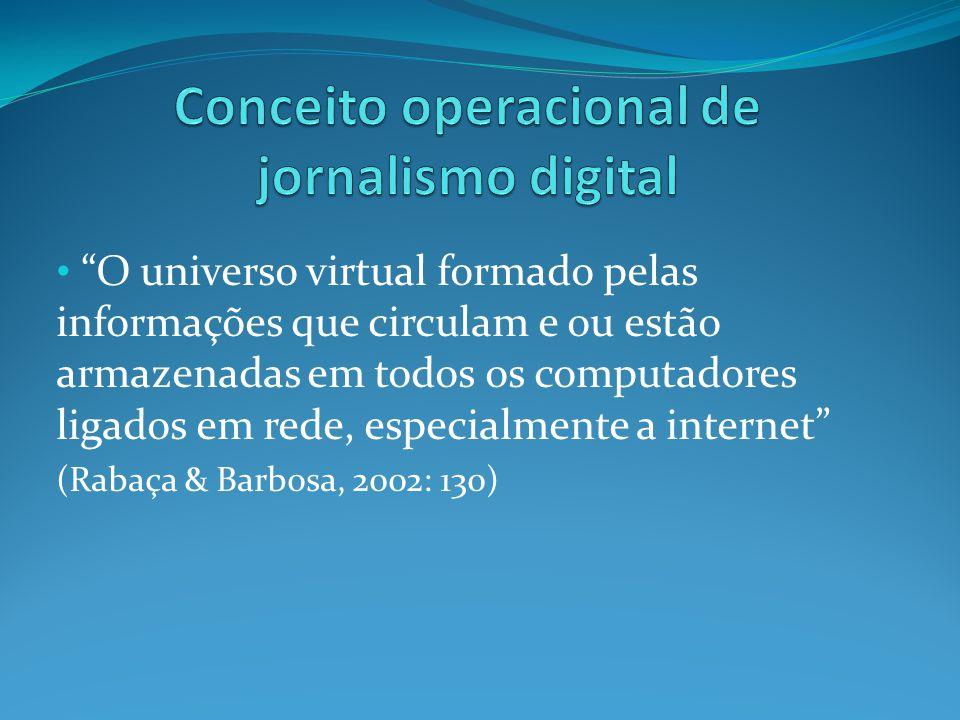 O universo virtual formado pelas informações que circulam e ou estão armazenadas em todos os computadores ligados em rede, especialmente a internet (Rabaça & Barbosa, 2002: 130)