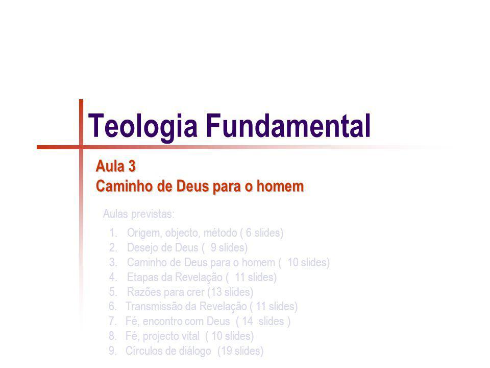 1.Origem, objecto, método ( 6 slides) 2.Desejo de Deus ( 9 slides) 3.Caminho de Deus para o homem ( 10 slides) 4.Etapas da Revelação ( 11 slides) 5.Ra