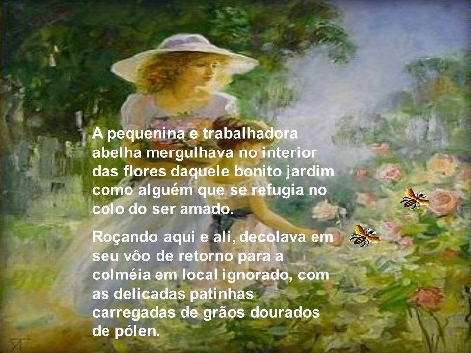 A pequenina e trabalhadora abelha mergulhava no interior das flores daquele bonito jardim como alguém que se refugia no colo do ser amado.