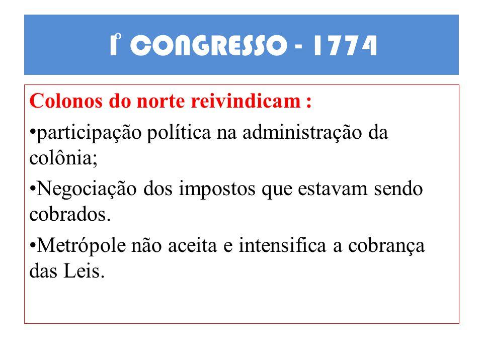 1 CONGRESSO - 1774 Colonos do norte reivindicam : participação política na administração da colônia; Negociação dos impostos que estavam sendo cobrado