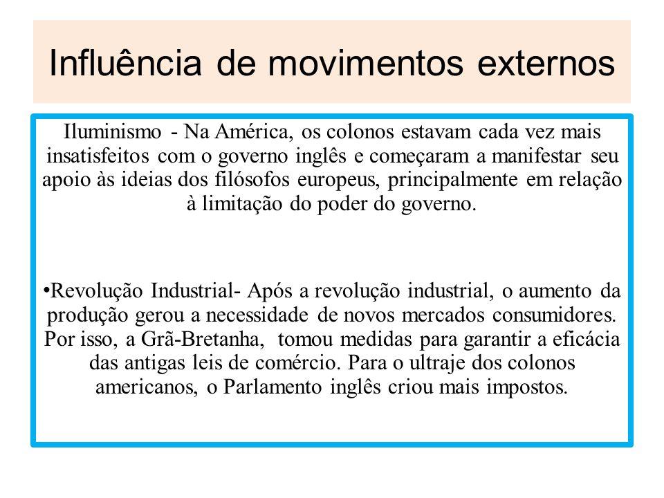 Influência de movimentos externos Iluminismo - Na América, os colonos estavam cada vez mais insatisfeitos com o governo inglês e começaram a manifesta