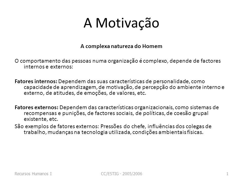 A Motivação A complexa natureza do Homem O comportamento das pessoas numa organização é complexo, depende de factores internos e externos: Fatores int