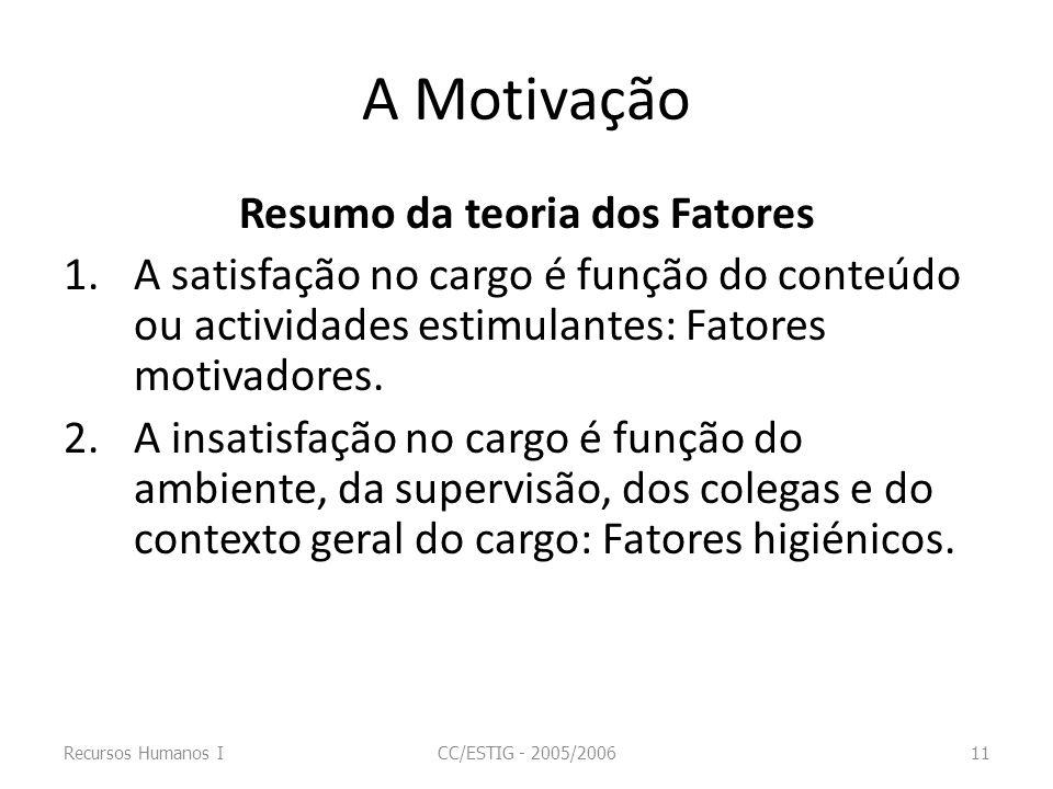 A Motivação Resumo da teoria dos Fatores 1.A satisfação no cargo é função do conteúdo ou actividades estimulantes: Fatores motivadores. 2.A insatisfaç
