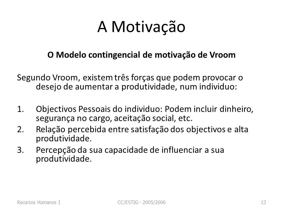 A Motivação O Modelo contingencial de motivação de Vroom Segundo Vroom, existem três forças que podem provocar o desejo de aumentar a produtividade, n