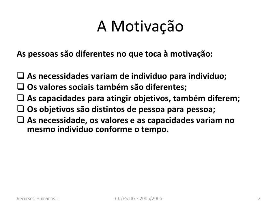 A Motivação As pessoas são diferentes no que toca à motivação: As necessidades variam de individuo para individuo; Os valores sociais também são difer
