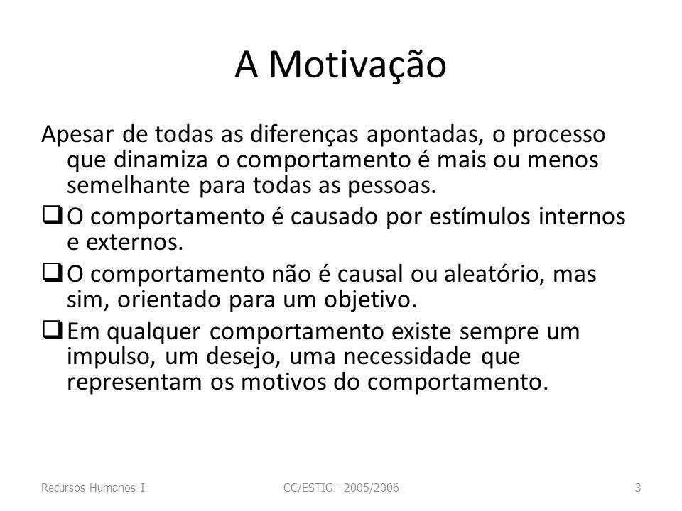 A Motivação O individuo percebe as consequências de cada alternativa de comportamento como resultados representando uma cadeia de relações entre meios e fins.