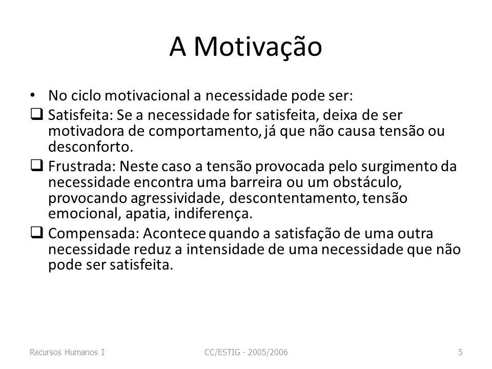 A Motivação No ciclo motivacional a necessidade pode ser: Satisfeita: Se a necessidade for satisfeita, deixa de ser motivadora de comportamento, já qu