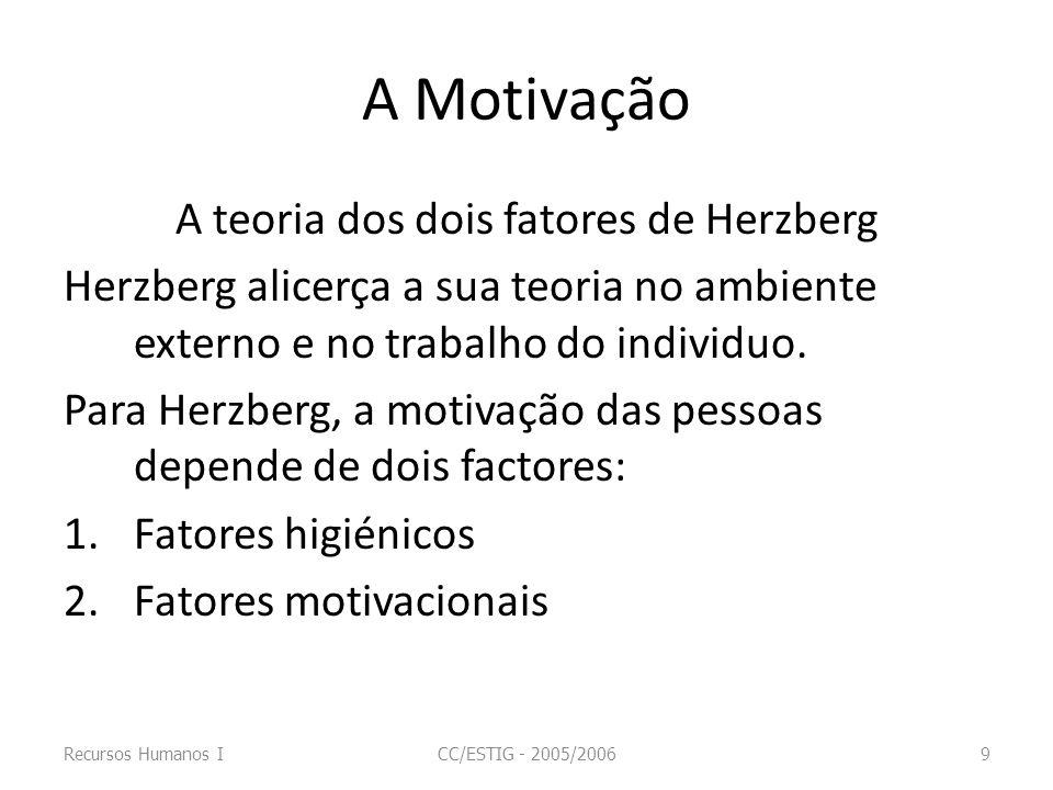 A Motivação A teoria dos dois fatores de Herzberg Herzberg alicerça a sua teoria no ambiente externo e no trabalho do individuo. Para Herzberg, a moti