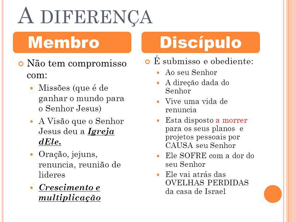 A DIFERENÇA Não tem compromisso com: Missões (que é de ganhar o mundo para o Senhor Jesus) A Visão que o Senhor Jesus deu a Igreja dEle.