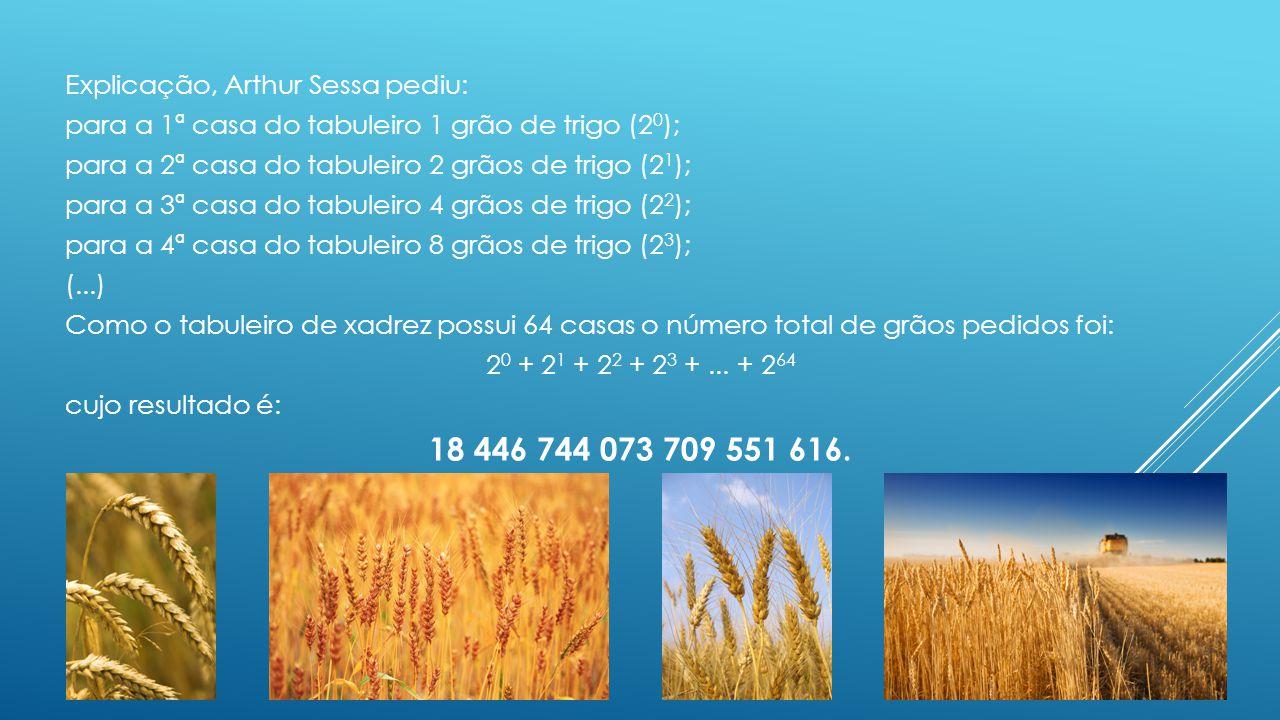 Explicação, Arthur Sessa pediu: para a 1ª casa do tabuleiro 1 grão de trigo (2 0 ); para a 2ª casa do tabuleiro 2 grãos de trigo (2 1 ); para a 3ª cas