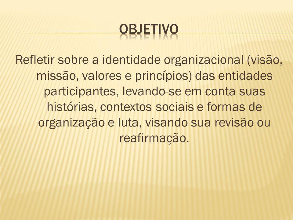 Refletir sobre a identidade organizacional (visão, missão, valores e princípios) das entidades participantes, levando-se em conta suas histórias, cont
