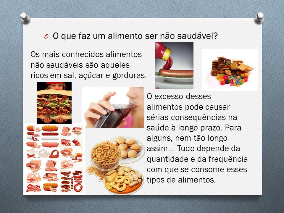 O O que faz um alimento ser não saudável? Os mais conhecidos alimentos não saudáveis são aqueles ricos em sal, açúcar e gorduras. O excesso desses ali