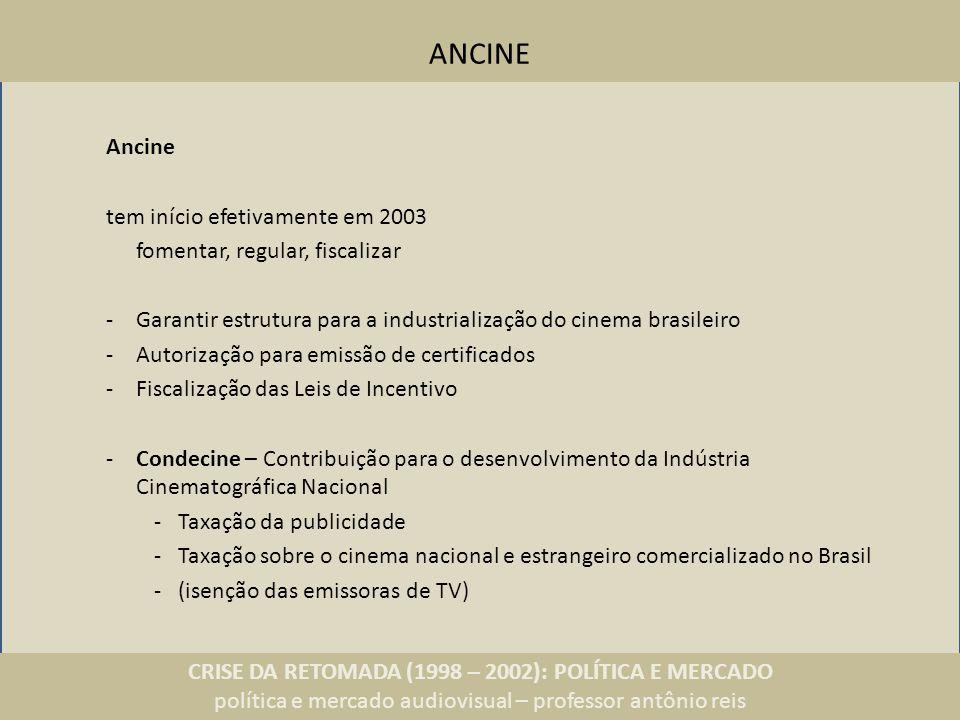 CRISE DA RETOMADA (1998 – 2002): POLÍTICA E MERCADO política e mercado audiovisual – professor antônio reis ANCINE Ancine tem início efetivamente em 2