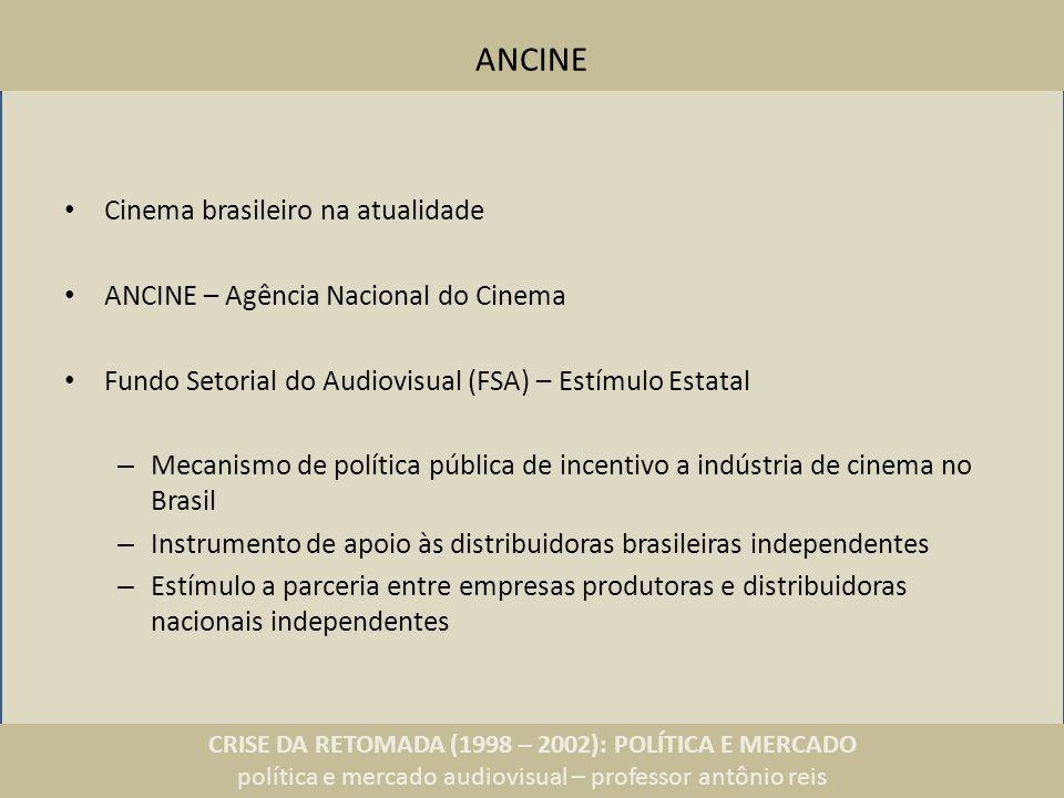 CRISE DA RETOMADA (1998 – 2002): POLÍTICA E MERCADO política e mercado audiovisual – professor antônio reis ANCINE Cinema brasileiro na atualidade ANC