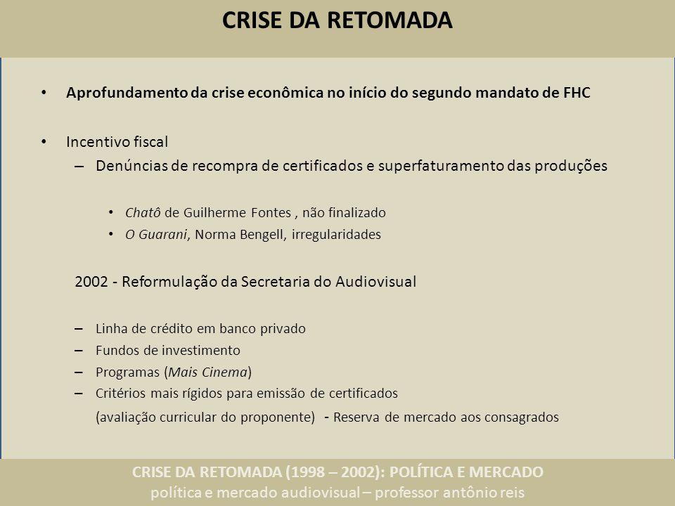 CRISE DA RETOMADA (1998 – 2002): POLÍTICA E MERCADO política e mercado audiovisual – professor antônio reis CRISE DA RETOMADA Aprofundamento da crise econômica no início do segundo mandato de FHC Incentivo fiscal – Denúncias de recompra de certificados e superfaturamento das produções Chatô de Guilherme Fontes, não finalizado O Guarani, Norma Bengell, irregularidades 2002 - Reformulação da Secretaria do Audiovisual – Linha de crédito em banco privado – Fundos de investimento – Programas (Mais Cinema) – Critérios mais rígidos para emissão de certificados (avaliação curricular do proponente) - Reserva de mercado aos consagrados
