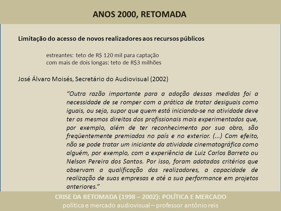 CRISE DA RETOMADA (1998 – 2002): POLÍTICA E MERCADO política e mercado audiovisual – professor antônio reis ANOS 2000, RETOMADA Outra razão importante