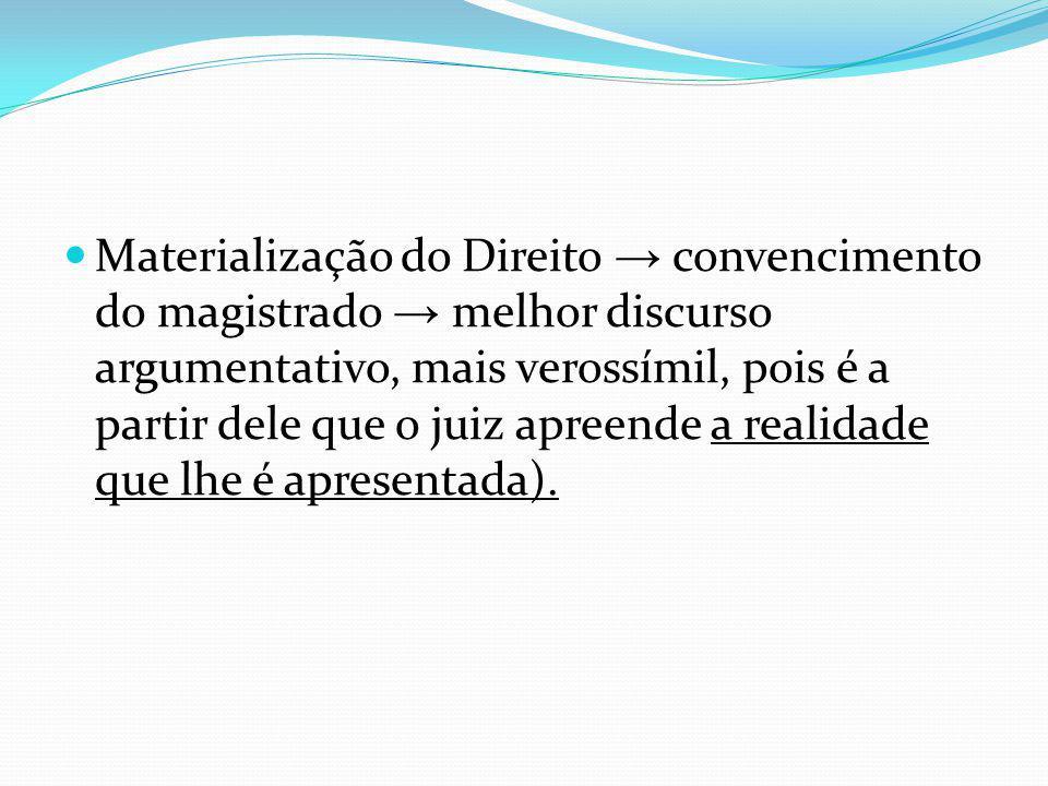 Materialização do Direito convencimento do magistrado melhor discurso argumentativo, mais verossímil, pois é a partir dele que o juiz apreende a realidade que lhe é apresentada).