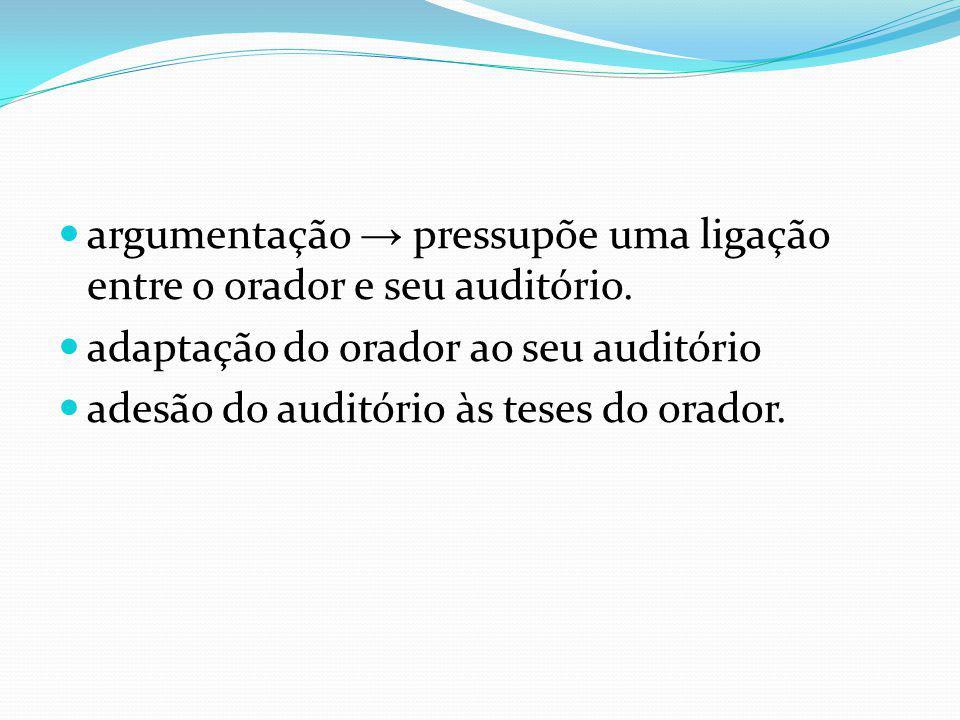 argumentação pressupõe uma ligação entre o orador e seu auditório. adaptação do orador ao seu auditório adesão do auditório às teses do orador.