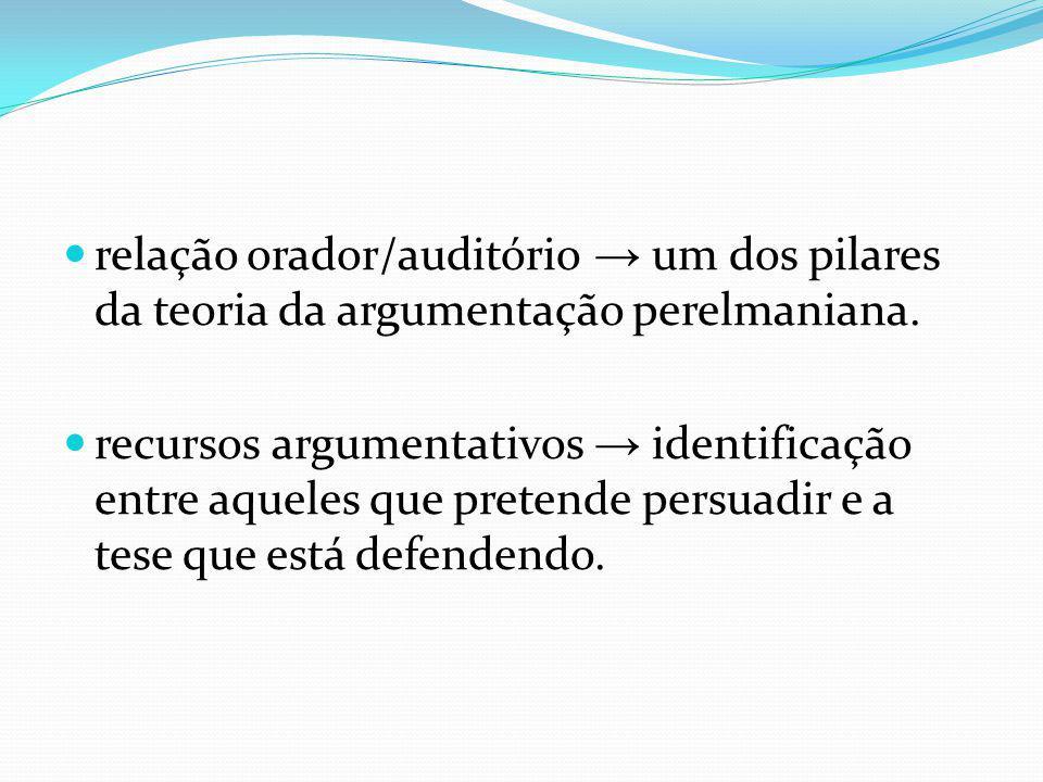relação orador/auditório um dos pilares da teoria da argumentação perelmaniana. recursos argumentativos identificação entre aqueles que pretende persu