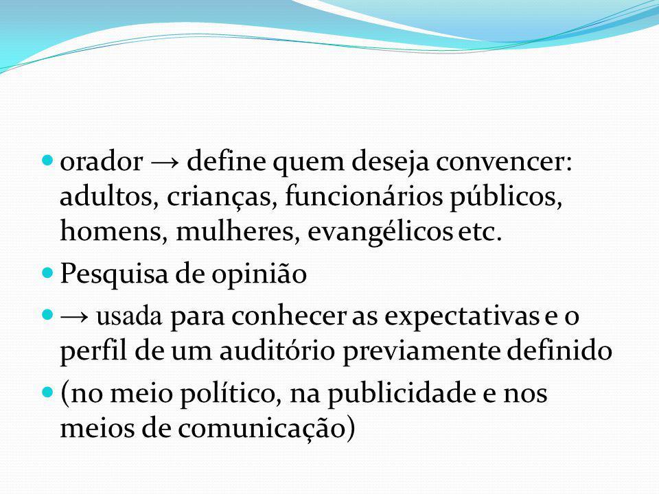 orador define quem deseja convencer: adultos, crianças, funcionários públicos, homens, mulheres, evangélicos etc. Pesquisa de opinião usada para conhe
