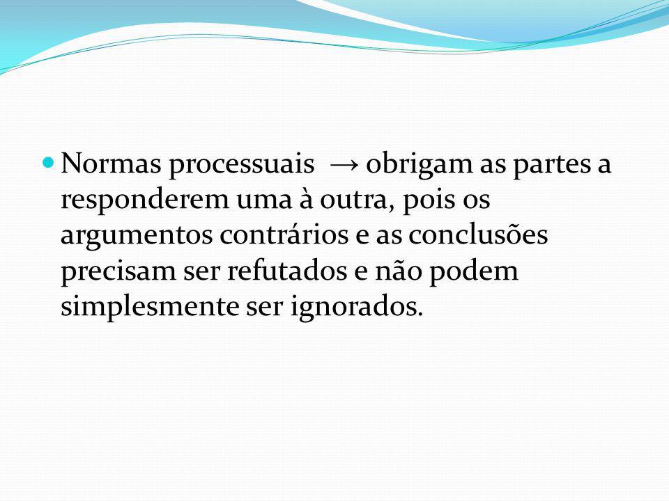 Normas processuais obrigam as partes a responderem uma à outra, pois os argumentos contrários e as conclusões precisam ser refutados e não podem simpl