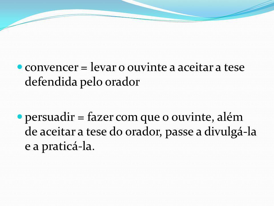 convencer = levar o ouvinte a aceitar a tese defendida pelo orador persuadir = fazer com que o ouvinte, além de aceitar a tese do orador, passe a divulgá-la e a praticá-la.