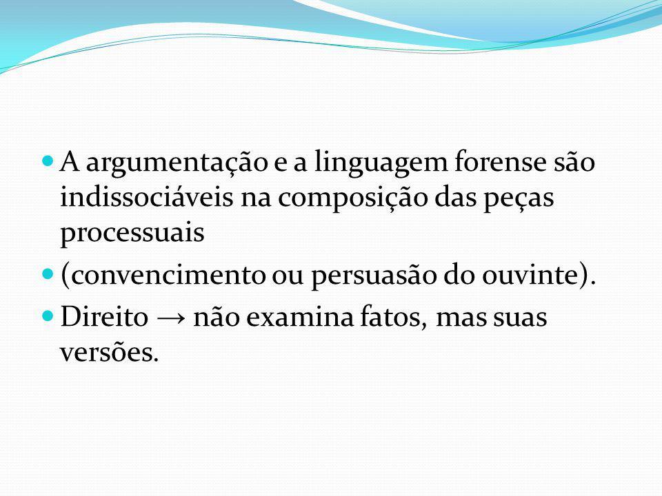 A argumentação e a linguagem forense são indissociáveis na composição das peças processuais (convencimento ou persuasão do ouvinte). Direito não exami