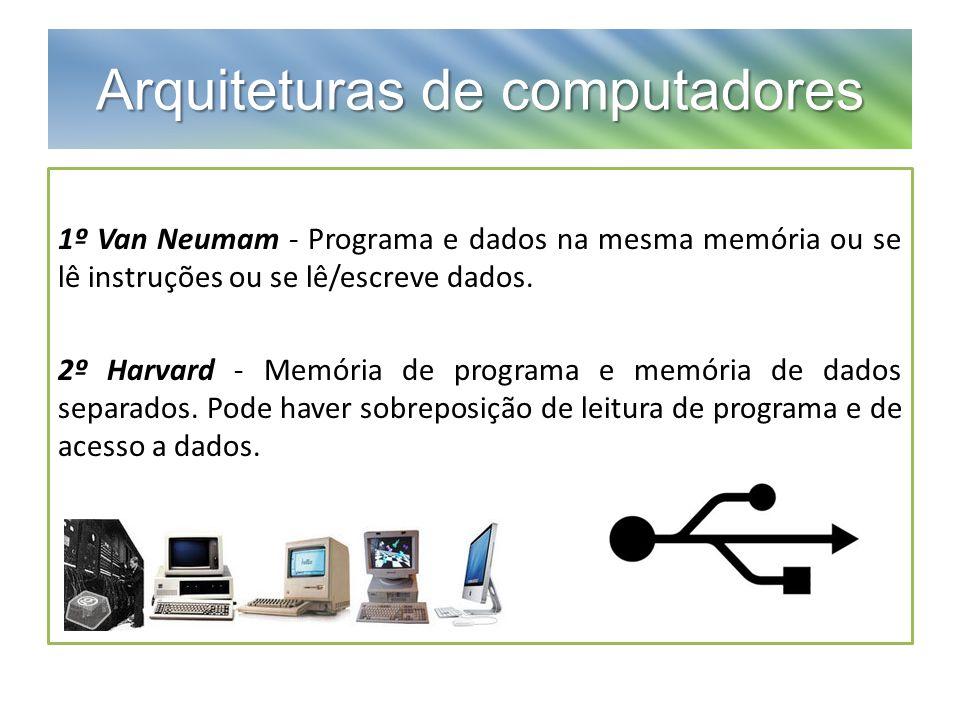 Arquiteturas de computadores 1º Van Neumam - Programa e dados na mesma memória ou se lê instruções ou se lê/escreve dados. 2º Harvard - Memória de pro