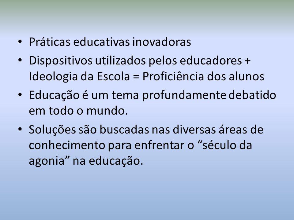 Práticas educativas inovadoras Dispositivos utilizados pelos educadores + Ideologia da Escola = Proficiência dos alunos Educação é um tema profundamente debatido em todo o mundo.