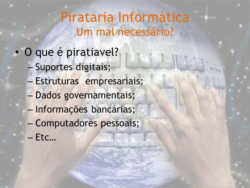 Pirataria Informática Um mal necessário? O que é piratiavel? – Suportes digitais; – Estruturas empresariais; – Dados governamentais; – Informações ban