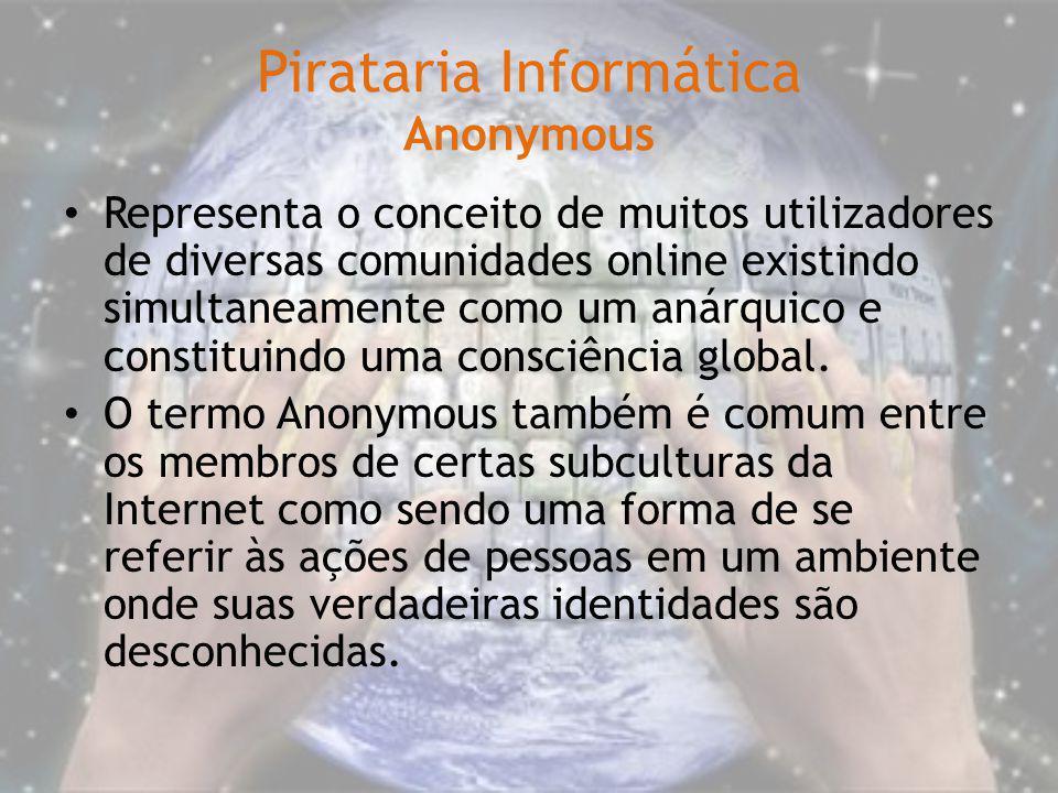 Pirataria Informática Anonymous Representa o conceito de muitos utilizadores de diversas comunidades online existindo simultaneamente como um anárquic