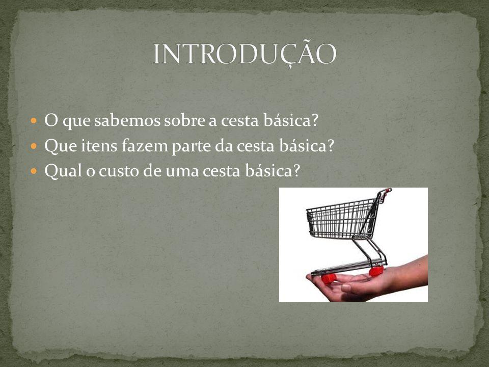 Realizar uma pesquisa sobre a cesta básica brasileira respondendo os seguintes questionamentos: O que é uma cesta básica.