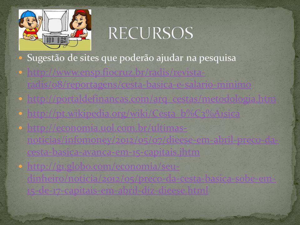 Sugestão de sites que poderão ajudar na pesquisa http://www.ensp.fiocruz.br/radis/revista- radis/08/reportagens/cesta-basica-e-salario-minimo http://w