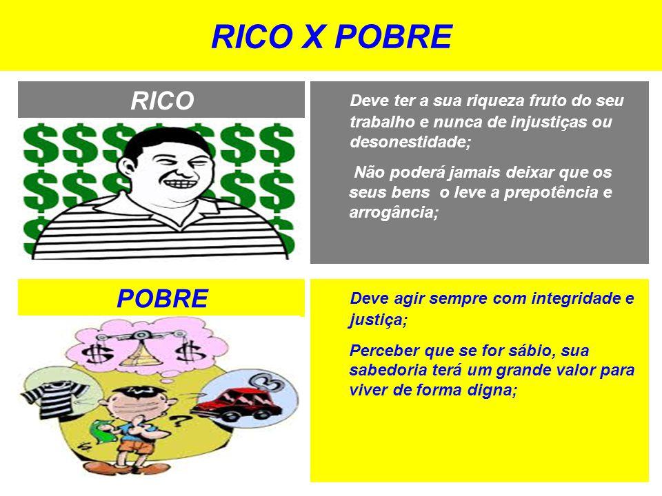 RICO X POBRE RICO POBRE Deve agir sempre com integridade e justiça; Perceber que se for sábio, sua sabedoria terá um grande valor para viver de forma