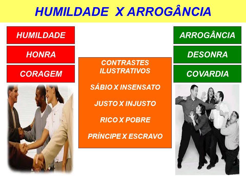 HUMILDADE X ARROGÂNCIA HUMILDADE HONRA CORAGEM ARROGÂNCIA DESONRA COVARDIA CONTRASTES ILUSTRATIVOS SÁBIO X INSENSATO JUSTO X INJUSTO RICO X POBRE PRÍN