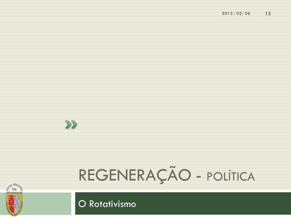 REGENERAÇÃO - POLÍTICA O Rotativismo 2013 / 02/ 06 15