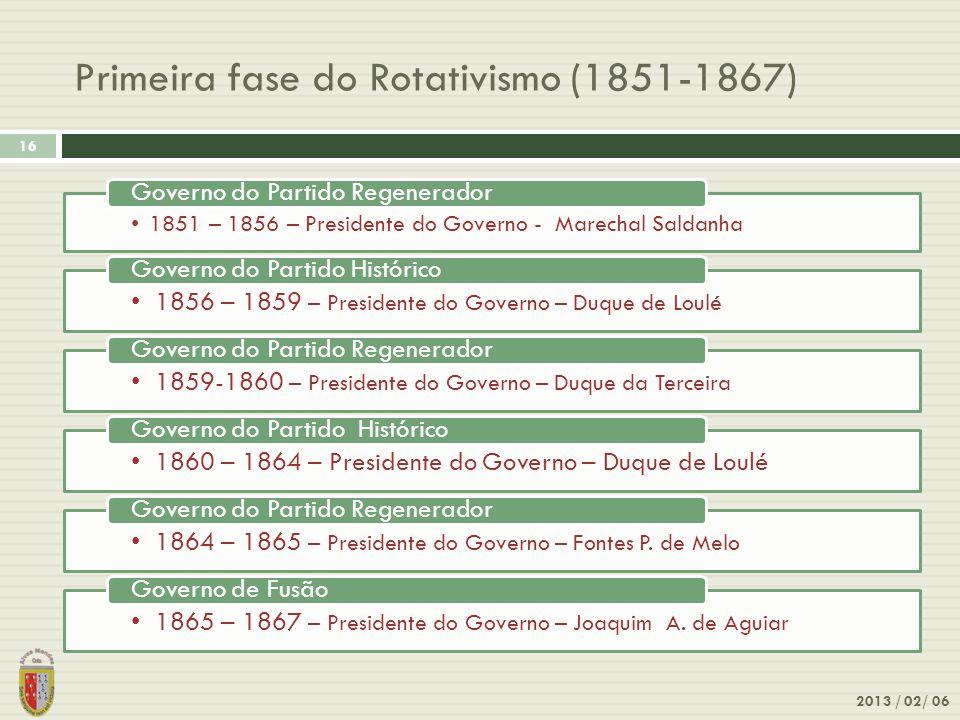 Primeira fase do Rotativismo (1851-1867) 2013 / 02/ 06 16 1851 – 1856 – Presidente do Governo - Marechal Saldanha Governo do Partido Regenerador 1856