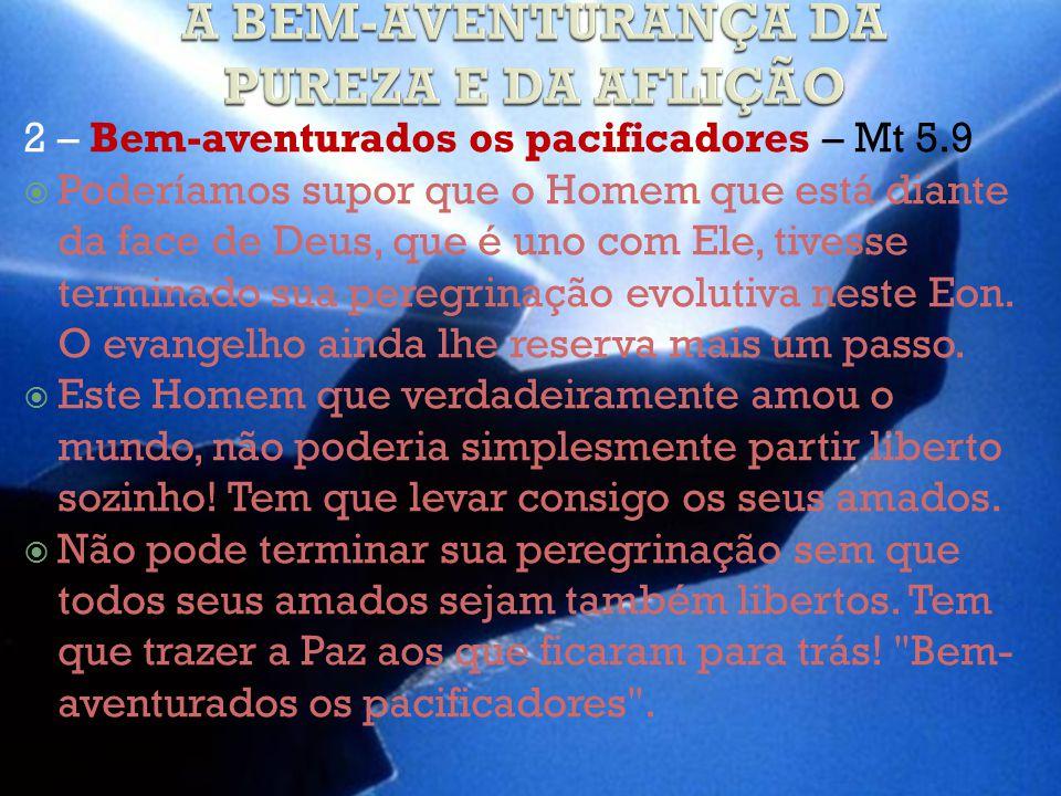 2 – Bem-aventurados os pacificadores – Mt 5.9 Poderíamos supor que o Homem que está diante da face de Deus, que é uno com Ele, tivesse terminado sua peregrinação evolutiva neste Eon.